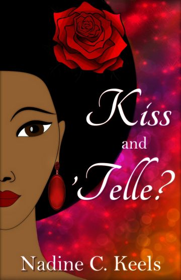 Book cover with a smiling young woman with a red rose in her Afro